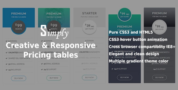 Creative & Responsive Pricing Tables - CodeCanyon Item for Sale