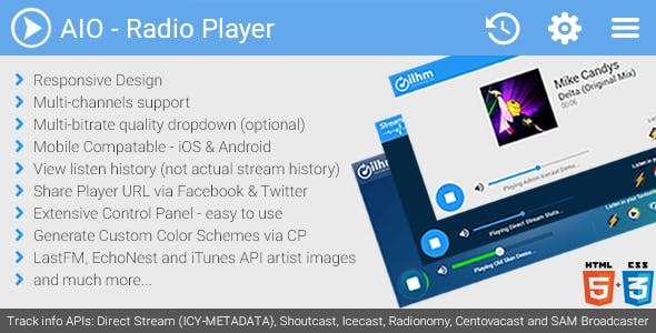 AIO Radio Station Player - Shoutcast, Icecast and more