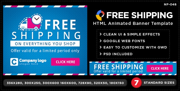 HTML5 Free Shipping Banners - GWD - 7 Sizes - CodeCanyon Item for Sale