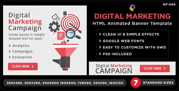 HTML5 Digital-Marketing Banners - GWD - 7 Sizes