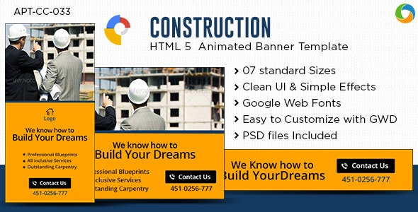 HTML5 Construction Banners - GWD - 7 Sizes - CodeCanyon Item for Sale
