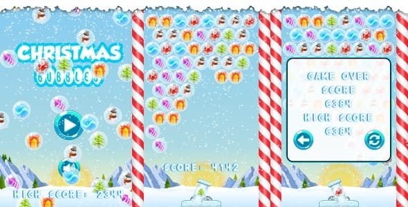 Christmas Bubbles - HTML5 Game + Mobile + AdMob (Construct 3 | Construct 2 | Capx)