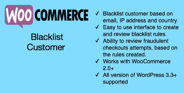 WooCommerce Blacklist Customers - CodeCanyon Item for Sale