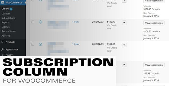 Subscription Column for WooCommerce Subscriptions