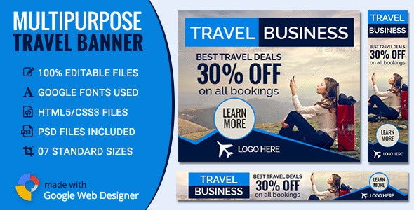 GWD | Travel & Tourism Banners - 7 Sizes - CodeCanyon Item for Sale