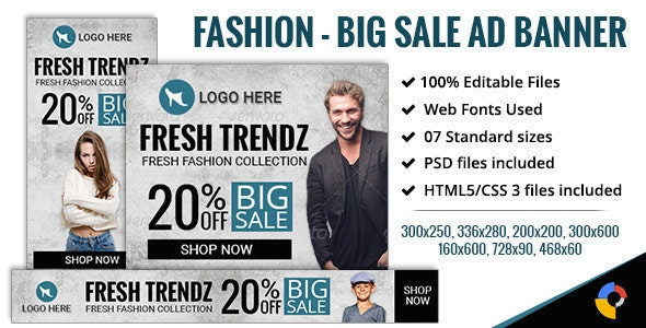 GWD | Fashion - Big Sale Banners - 7 Sizes - CodeCanyon Item for Sale