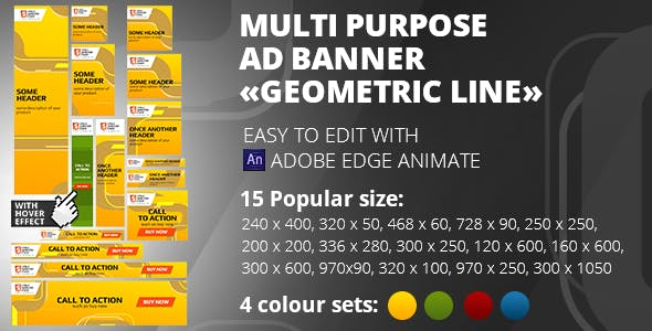 HTML5 Banner «Geometric line» 15 sizes, 4 colours  | Edge Animate