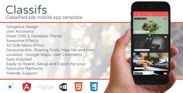 Classifs - Classified Ads Mobile App Template - CodeCanyon Item for Sale