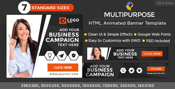 HTML5 Multi Purpose Banners - GWD - 7 Sizes - CodeCanyon Item for Sale