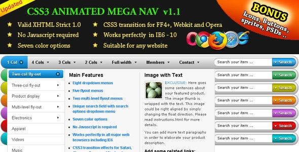 CSS3 Animated Mega Nav - CodeCanyon Item for Sale