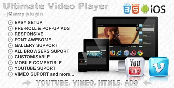 Ultimate Video Player with YouTube, Vimeo, HTML5, Ads - CodeCanyon Item for Sale