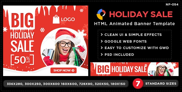 HTML5 Holiday season Banners - GWD - 7 Sizes - CodeCanyon Item for Sale
