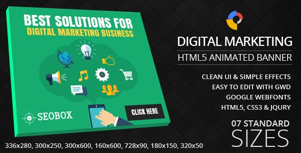 Digital Marketing & SEO - GWD Ad Banner - 7 Sizes