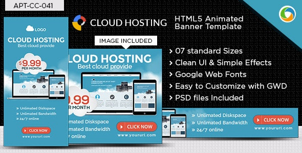 HTML5 Web Hosting Banners - GWD - 7 Sizes - CodeCanyon Item for Sale