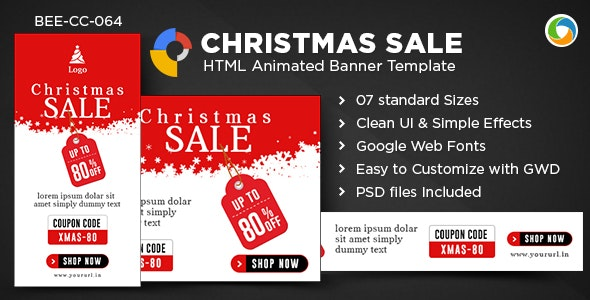 HTML5 Christmas Banners - GWD - 7 Sizes - CodeCanyon Item for Sale