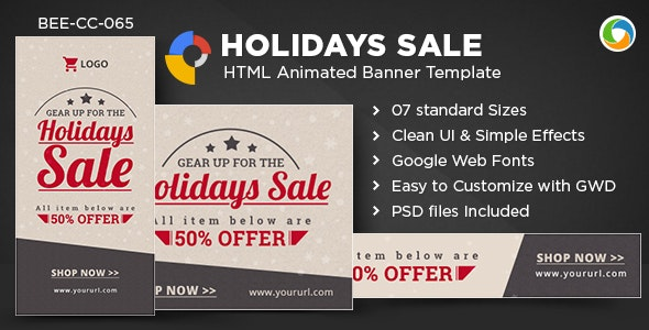 HTML5 Holiday Season Sale Banners - GWD - 7 Sizes - CodeCanyon Item for Sale