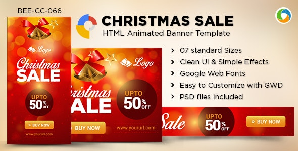 HTML5 Christmas sale Banners - GWD - 7 Sizes - CodeCanyon Item for Sale