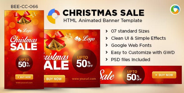 HTML5 Christmas sale Banners - GWD - 7 Sizes