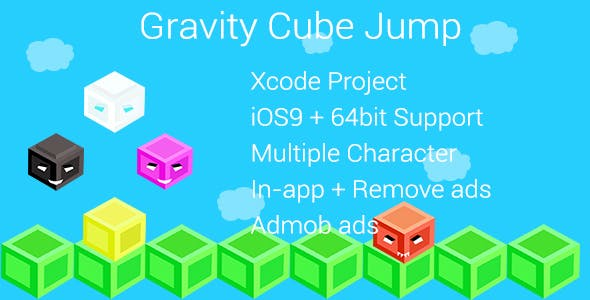 Gravity Cube Jump+MultipleCharacter+InApp
