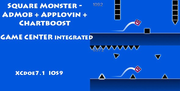 Square Monster - AdMob - Applovin - Chartboost