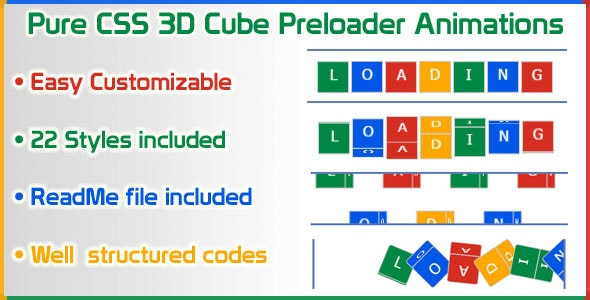 Pure CSS 3D Cube Preloader Animations