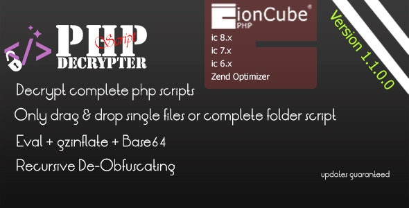 IONCUBE Decoder - PHPScript Decrypter Pro - CodeCanyon Item for Sale