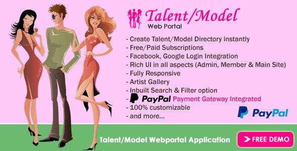 Talent/Model Web Portal - CodeCanyon Item for Sale