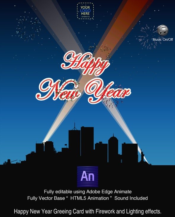 Happy New year with Fireworks - Greeting Card - CREATED IN ADOBE EDGE ANIMATE - CodeCanyon Item for Sale