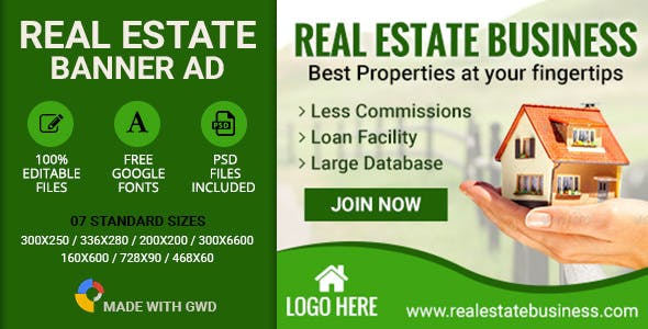GWD | Real Estate Banners - 7 Sizes