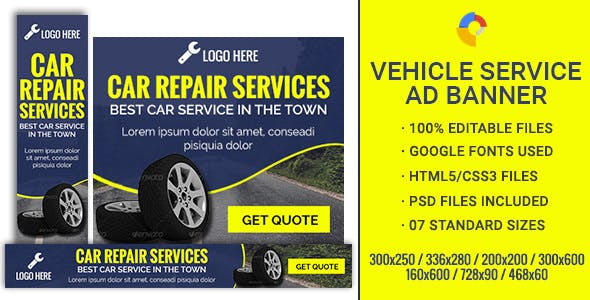 GWD | Car Repair & Service Banners - 7 Sizes