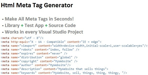 Html Meta Tag Generator - CodeCanyon Item for Sale