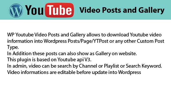 WP Youtube Videos Posts and Gallery - CodeCanyon Item for Sale
