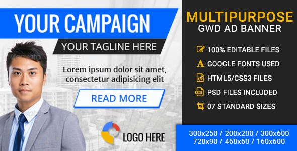 Multipurpose GWD Ad Banner - 7 Sizes - CodeCanyon Item for Sale
