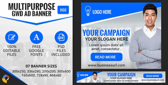 Multipurpose GWD Ad Banners - 7 Sizes - CodeCanyon Item for Sale