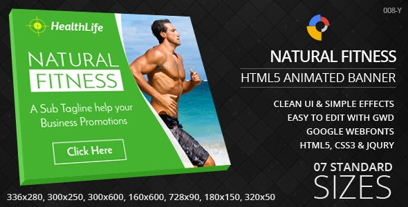 Natural Fitness - HTML5 Ad Banners - CodeCanyon Item for Sale