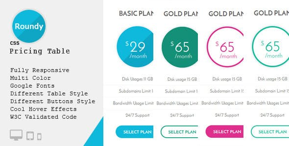 Roundy - CSS3 Responsive Pricing Table