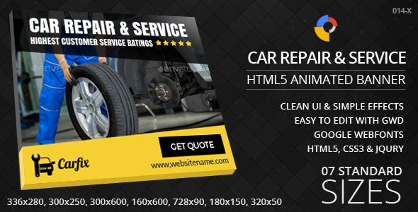 Car Repair & Service- HTML5 ad banners - CodeCanyon Item for Sale