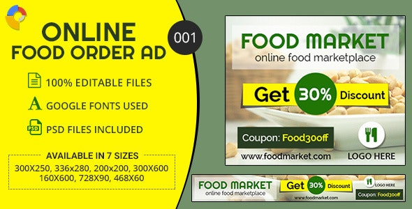GWD | Online Food Ordering Banners - 7 Sizes - CodeCanyon Item for Sale