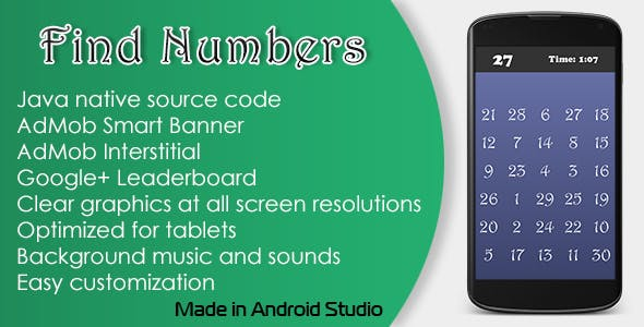 Find Numbers Game with AdMob and Leaderboard