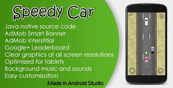 Speedy Car Game with AdMob and Leaderboard