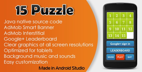 15 Puzzle Game with AdMob and Leaderboard - CodeCanyon Item for Sale