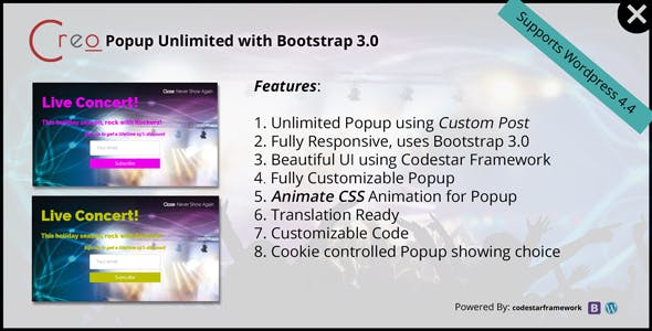 Creo Popup Unlimited with Bootstrap 3.0 - CodeCanyon Item for Sale