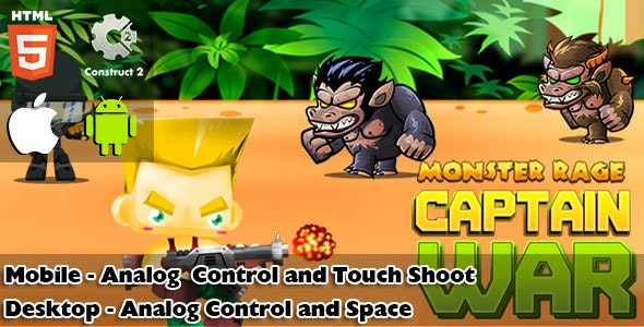 Captain War : Monster Rage HTML5 Game (CAPX) - CodeCanyon Item for Sale