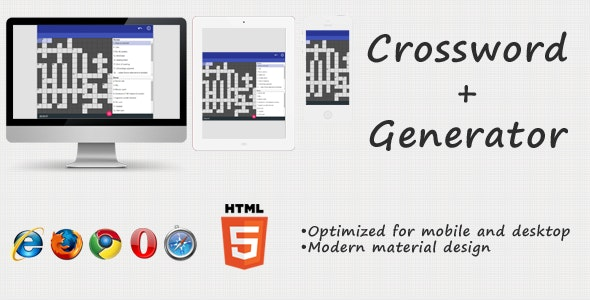 HTML5 Crossword + Generator - CodeCanyon Item for Sale