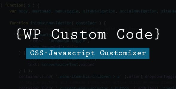 WP Custom Code - Another Script Customizer For Your Site