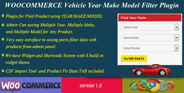 WooCommerce Vehicle Parts Finder - Year/Make/Model