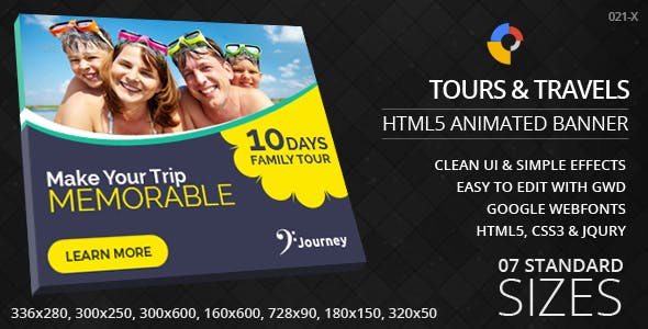 Tours & Travels - HTML5 ad banners