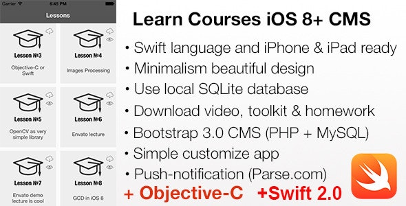 LEARN Courses Mobile iOS 8 + CMS, Swift 2.0 and Objective-C projects - CodeCanyon Item for Sale