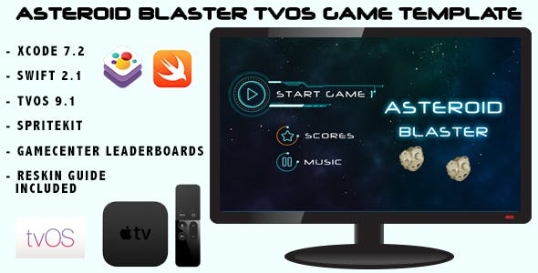 Asteroid Blaster tvOS Apple TV Swift Game Template