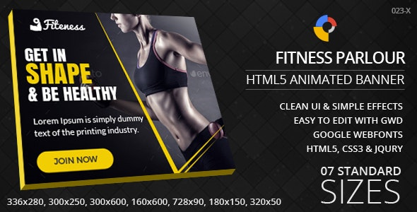 Fitness Parlour - HTML5 ad banners - CodeCanyon Item for Sale